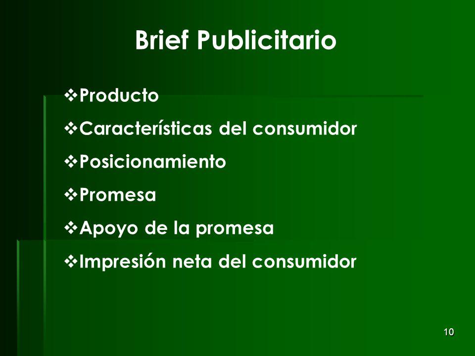 10 Brief Publicitario Producto Características del consumidor Posicionamiento Promesa Apoyo de la promesa Impresión neta del consumidor
