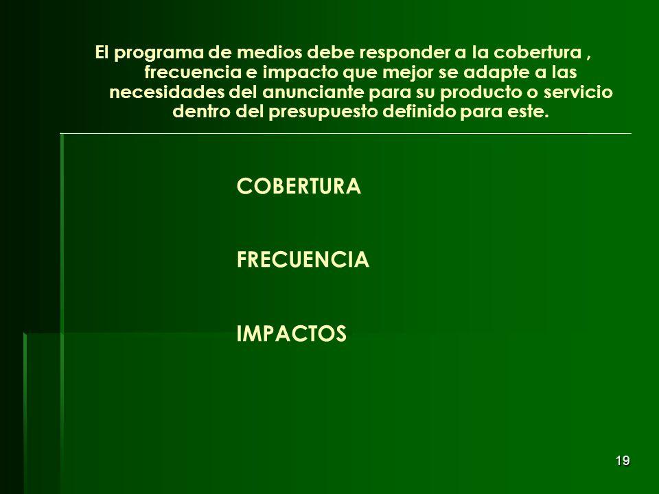 19 COBERTURA FRECUENCIA IMPACTOS El programa de medios debe responder a la cobertura, frecuencia e impacto que mejor se adapte a las necesidades del a