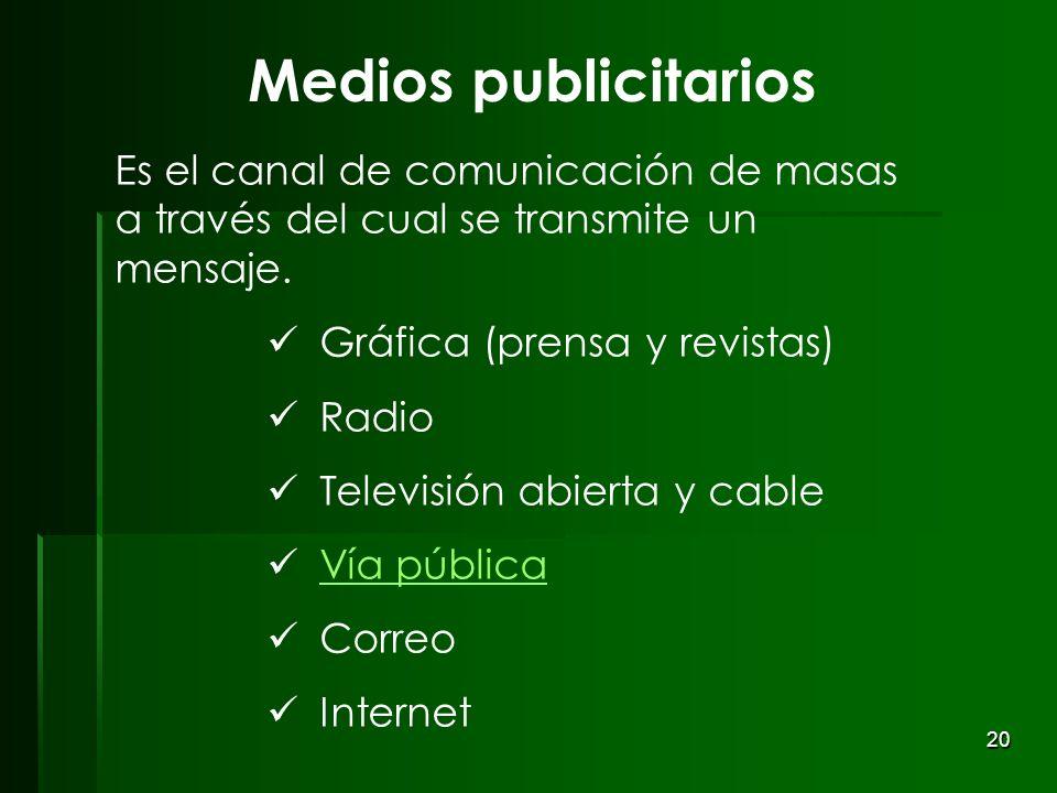 20 Medios publicitarios Es el canal de comunicación de masas a través del cual se transmite un mensaje. Gráfica (prensa y revistas) Radio Televisión a