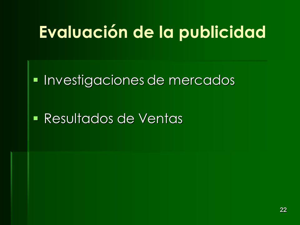 22 Evaluación de la publicidad Investigaciones de mercados Investigaciones de mercados Resultados de Ventas Resultados de Ventas