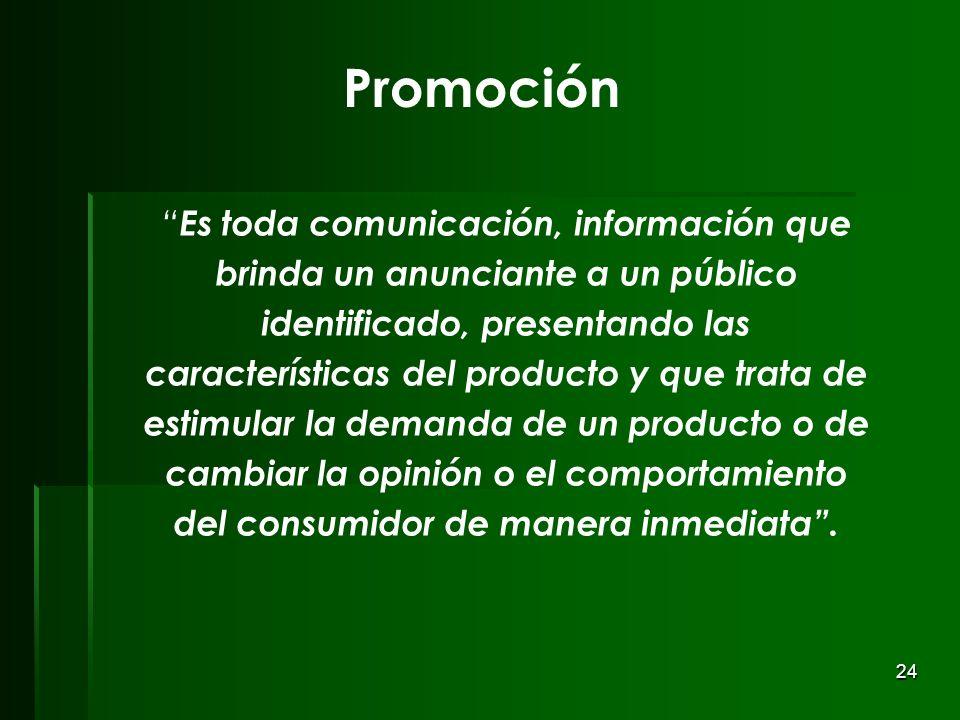 24 Promoción Es toda comunicación, información que brinda un anunciante a un público identificado, presentando las características del producto y que