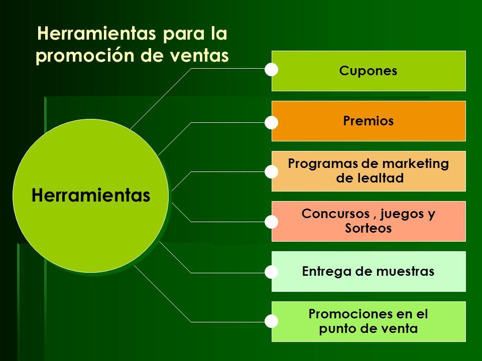 26 Herramientas para la promoción de ventas Cupones Premios Programas de marketing de lealtad Concursos, juegos y Sorteos Entrega de muestras Promocio