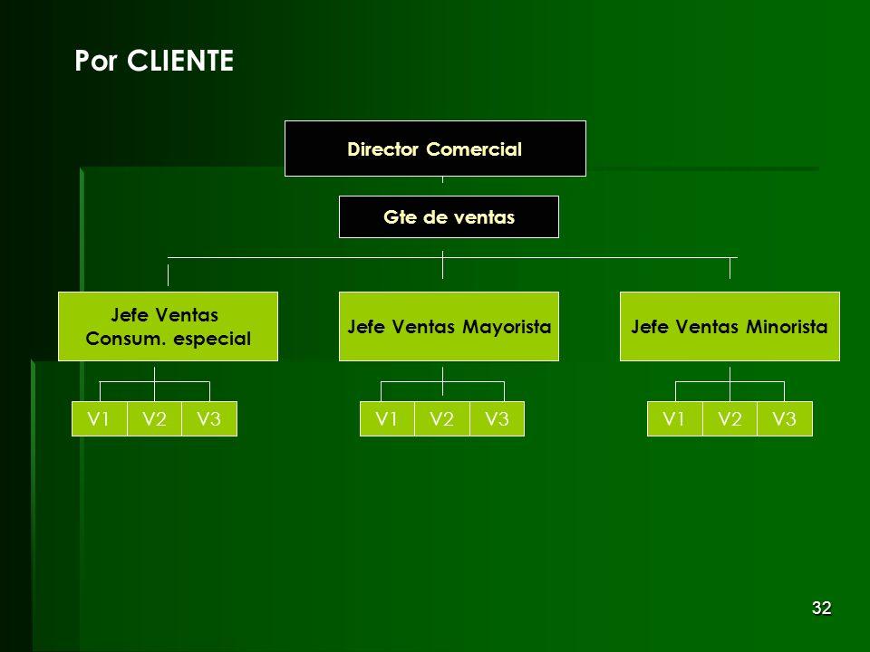 32 Gte de ventas Director Comercial Por CLIENTE Jefe Ventas MinoristaJefe Ventas Mayorista Jefe Ventas Consum. especial V1V2V3V1V2V3V1V2V3 Gte de vent