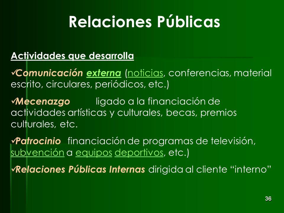 36 Relaciones Públicas Actividades que desarrolla Comunicación externa (noticias, conferencias, material escrito, circulares, periódicos, etc.)externa