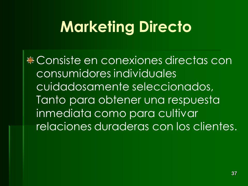 37 Marketing Directo Consiste en conexiones directas con consumidores individuales cuidadosamente seleccionados, Tanto para obtener una respuesta inme