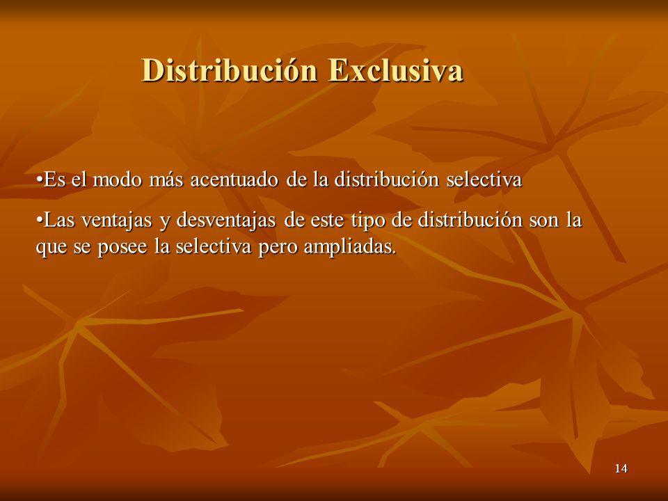 14 Es el modo más acentuado de la distribución selectivaEs el modo más acentuado de la distribución selectiva Las ventajas y desventajas de este tipo