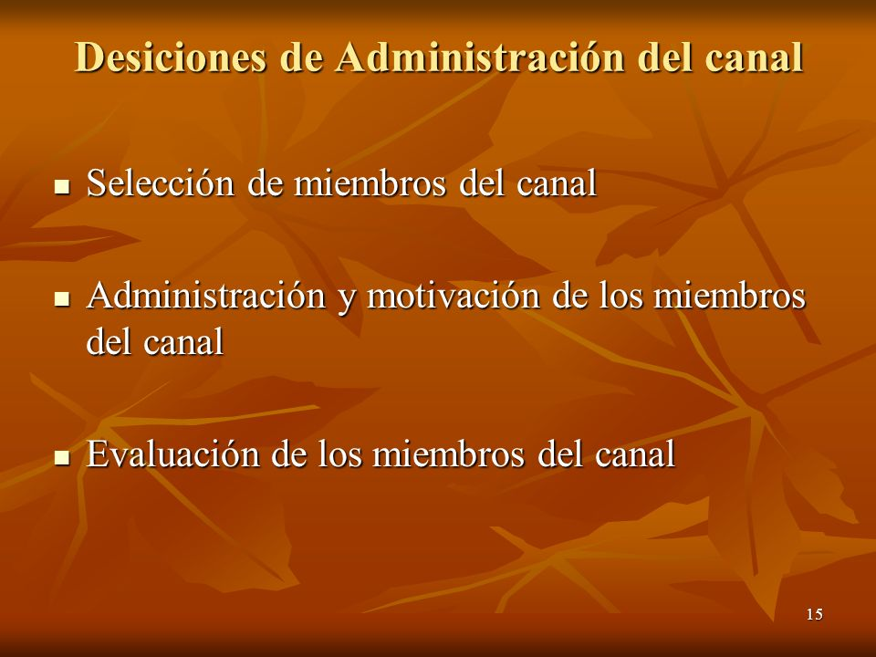 15 Desiciones de Administración del canal Selección de miembros del canal Selección de miembros del canal Administración y motivación de los miembros