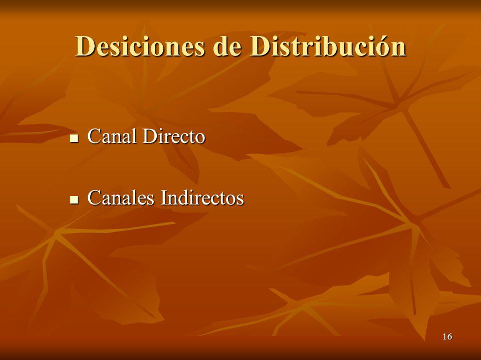 16 Desiciones de Distribución Canal Directo Canal Directo Canales Indirectos Canales Indirectos