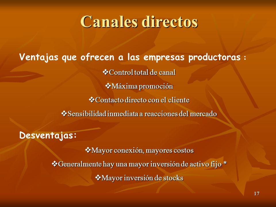17 Canales directos Ventajas que ofrecen a las empresas productoras : Control total de canal Control total de canal Máxima promoción Máxima promoción