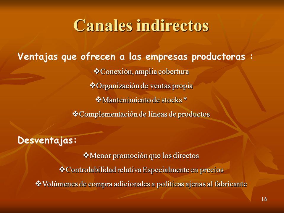 18 Canales indirectos Ventajas que ofrecen a las empresas productoras : Conexión, amplia cobertura Conexión, amplia cobertura Organización de ventas p