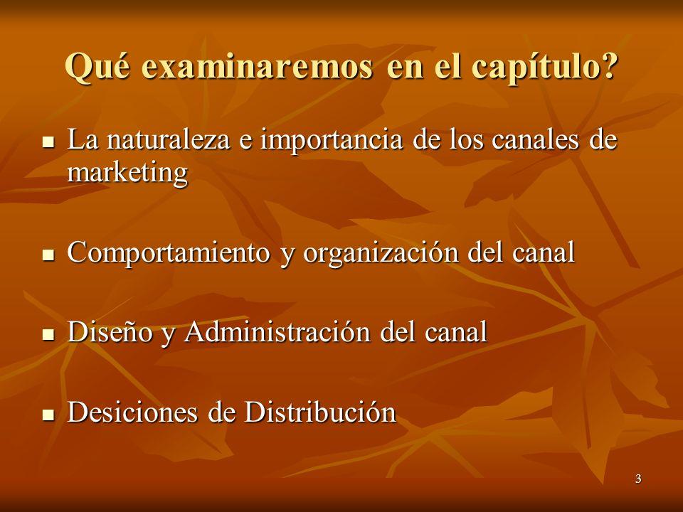 3 Qué examinaremos en el capítulo? La naturaleza e importancia de los canales de marketing La naturaleza e importancia de los canales de marketing Com