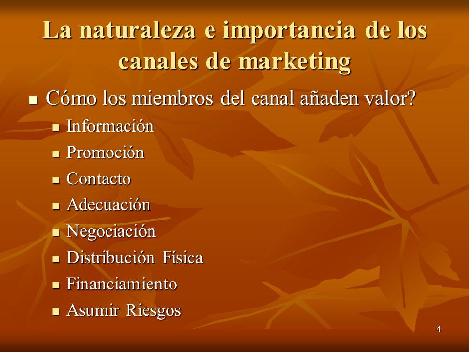 4 La naturaleza e importancia de los canales de marketing Cómo los miembros del canal añaden valor? Cómo los miembros del canal añaden valor? Informac