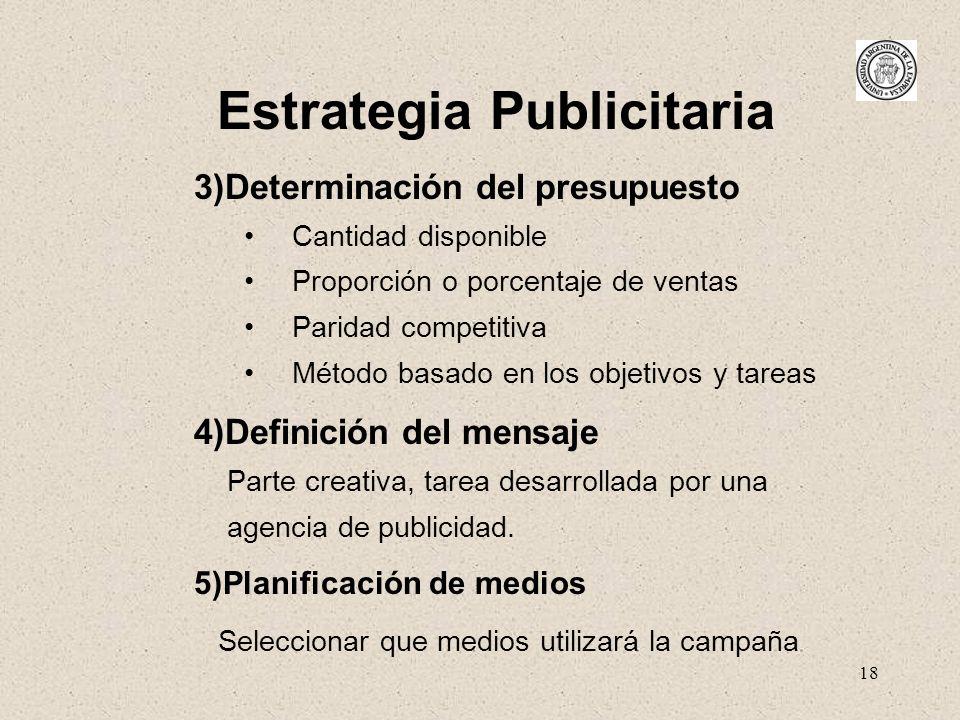18 3)Determinación del presupuesto Cantidad disponible Proporción o porcentaje de ventas Paridad competitiva Método basado en los objetivos y tareas 4