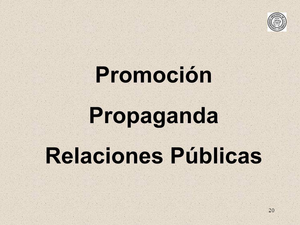 20 Promoción Propaganda Relaciones Públicas