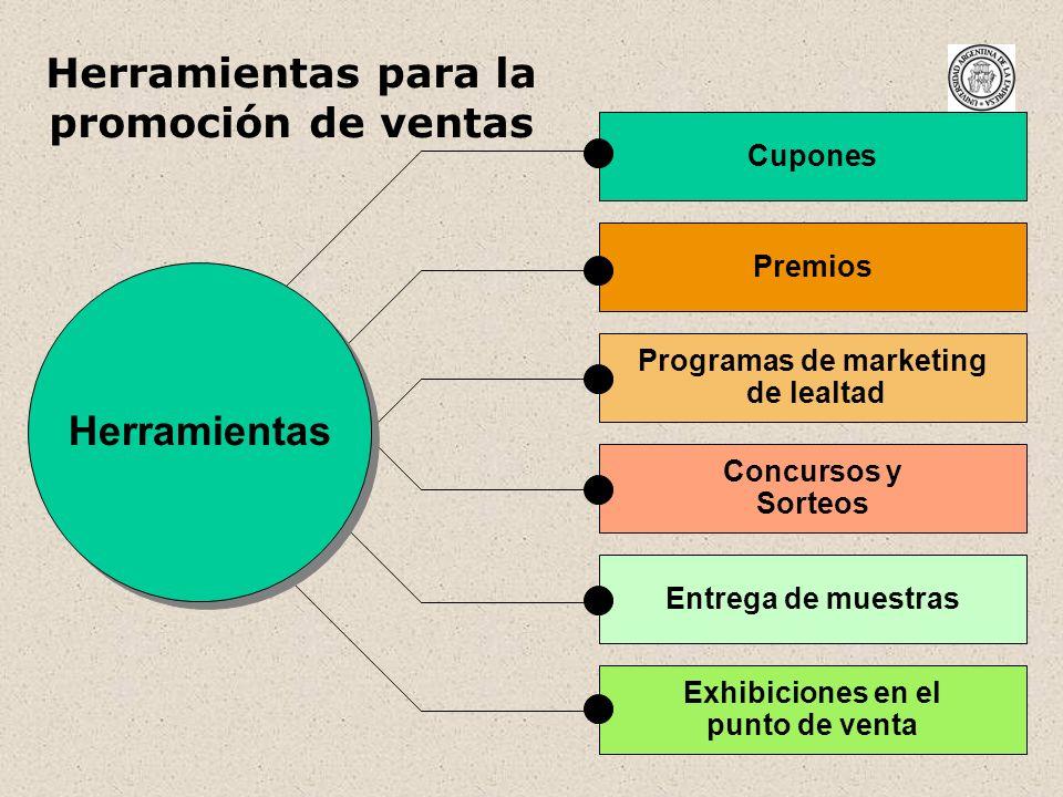 26 Herramientas para la promoción de ventas Cupones Premios Programas de marketing de lealtad Concursos y Sorteos Entrega de muestras Exhibiciones en