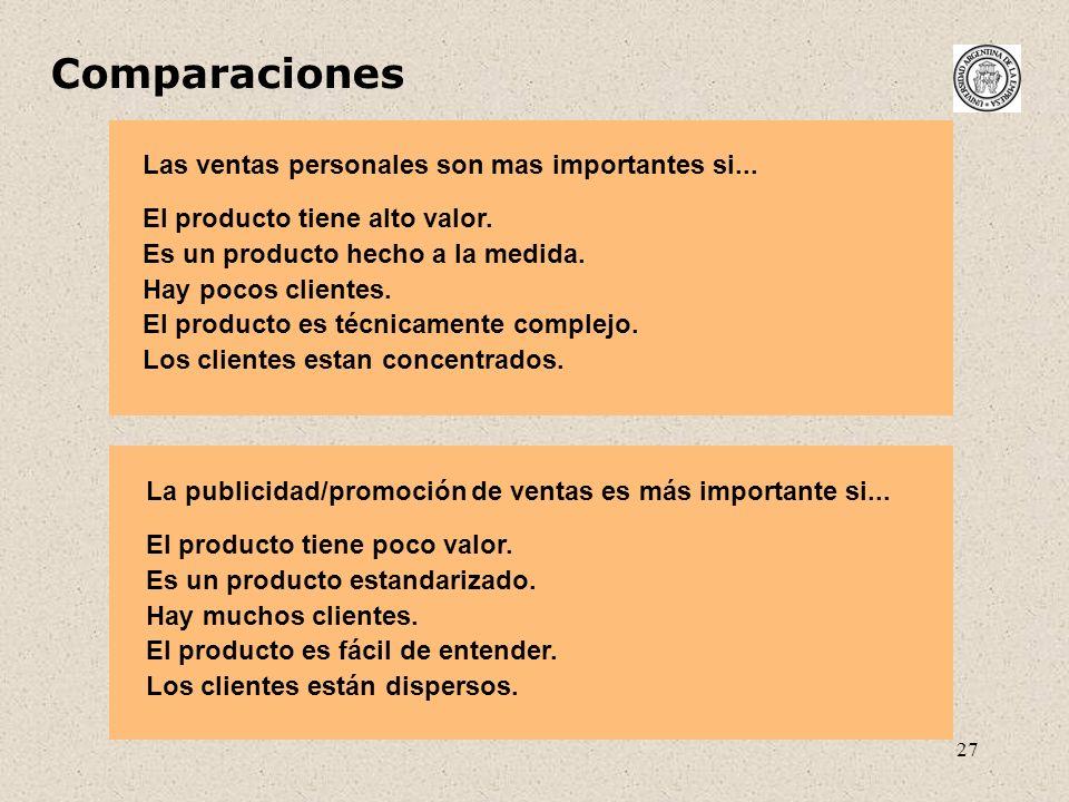 27 Comparaciones Las ventas personales son mas importantes si... El producto tiene alto valor. Es un producto hecho a la medida. Hay pocos clientes. E
