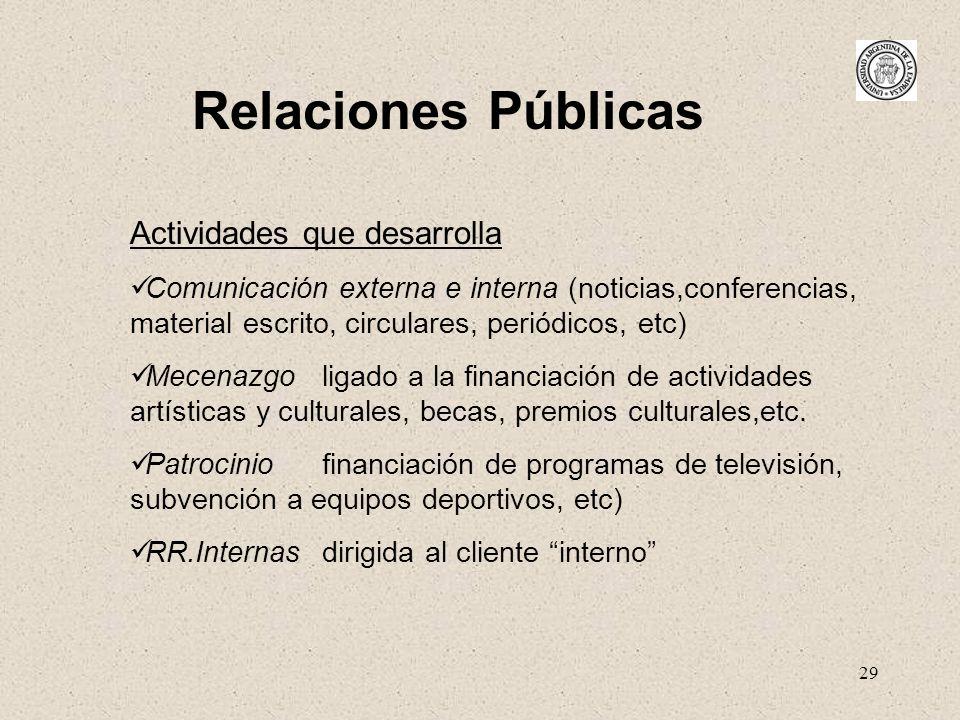 29 Relaciones Públicas Actividades que desarrolla Comunicación externa e interna (noticias,conferencias, material escrito, circulares, periódicos, etc