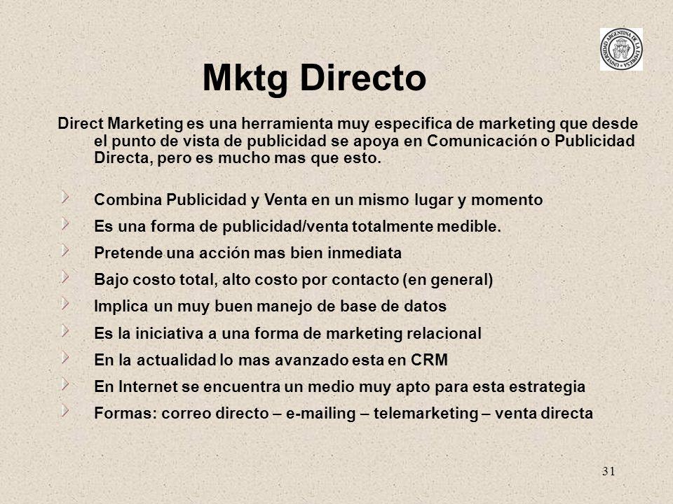 31 Direct Marketing es una herramienta muy especifica de marketing que desde el punto de vista de publicidad se apoya en Comunicación o Publicidad Dir