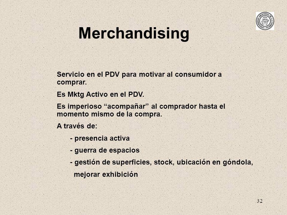 32 Merchandising Servicio en el PDV para motivar al consumidor a comprar. Es Mktg Activo en el PDV. Es imperioso acompañar al comprador hasta el momen