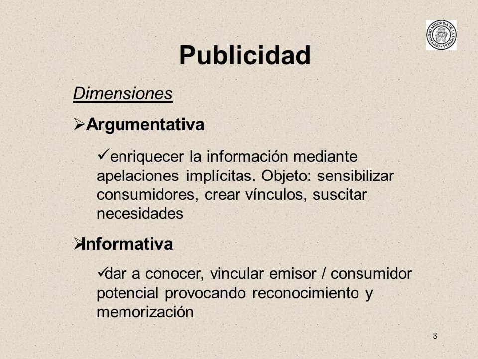 8 Publicidad Dimensiones Argumentativa enriquecer la información mediante apelaciones implícitas. Objeto: sensibilizar consumidores, crear vínculos, s