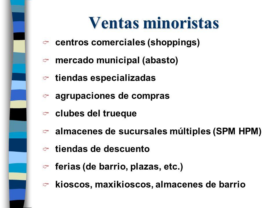 centros comerciales (shoppings) mercado municipal (abasto) tiendas especializadas agrupaciones de compras clubes del trueque almacenes de sucursales m