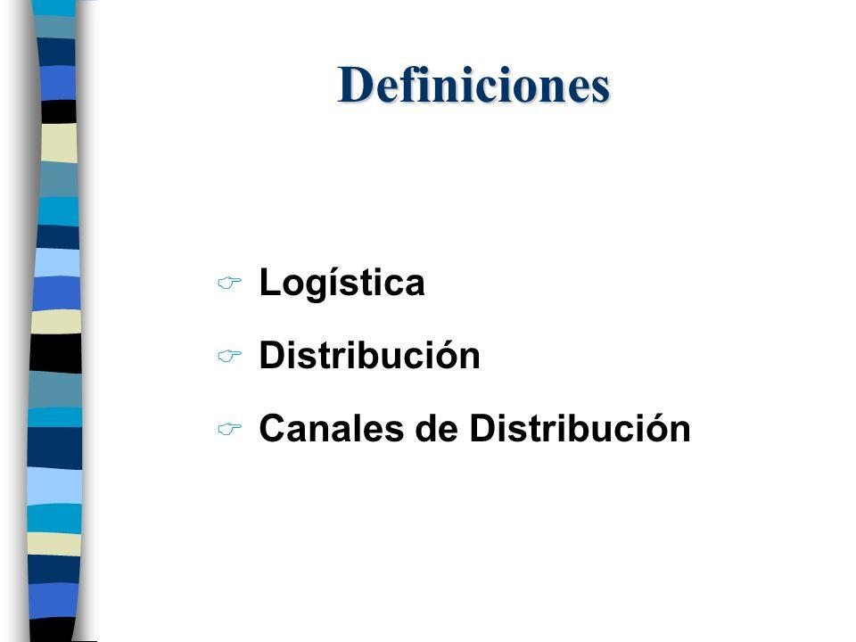 Definiciones Logística Distribución Canales de Distribución