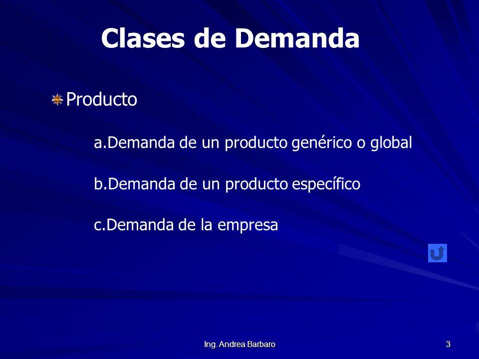 Ing. Andrea Barbaro 3 Clases de Demanda Producto a. a.Demanda de un producto genérico o global b. b.Demanda de un producto específico c. c.Demanda de