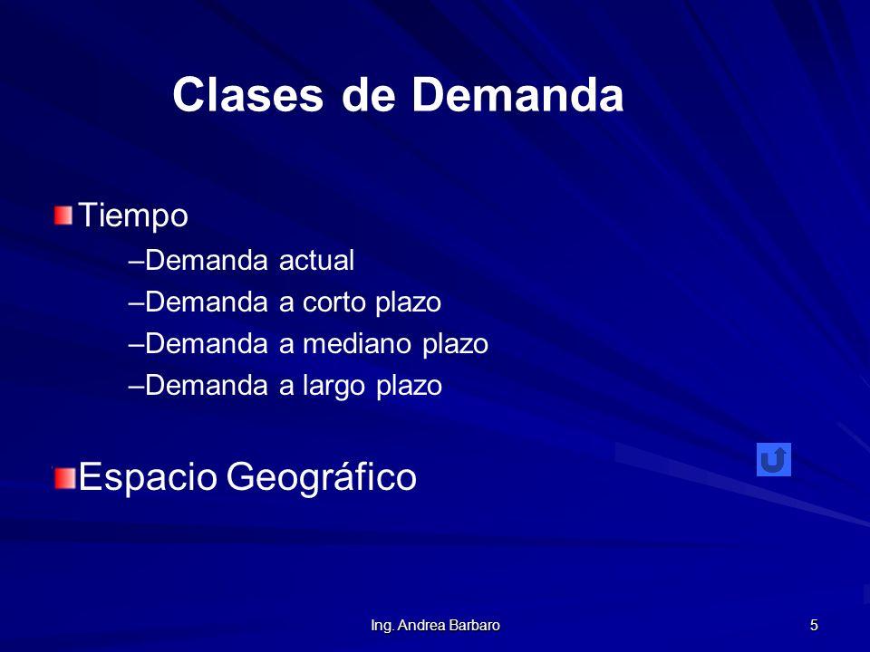 Ing. Andrea Barbaro 5 Tiempo ––D––Demanda actual ––D––Demanda a corto plazo ––D––Demanda a mediano plazo ––D––Demanda a largo plazo Espacio Geográfico