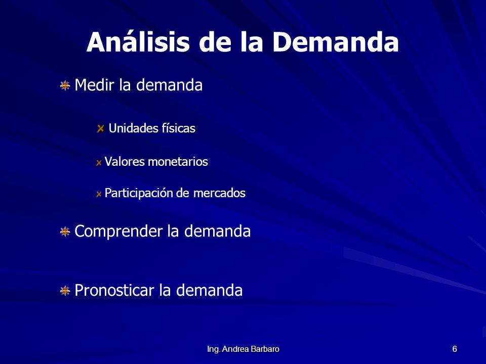 Ing. Andrea Barbaro 6 Análisis de la Demanda Medir la demanda Unidades físicas Valores monetarios Participación de mercados Comprender la demanda Pron