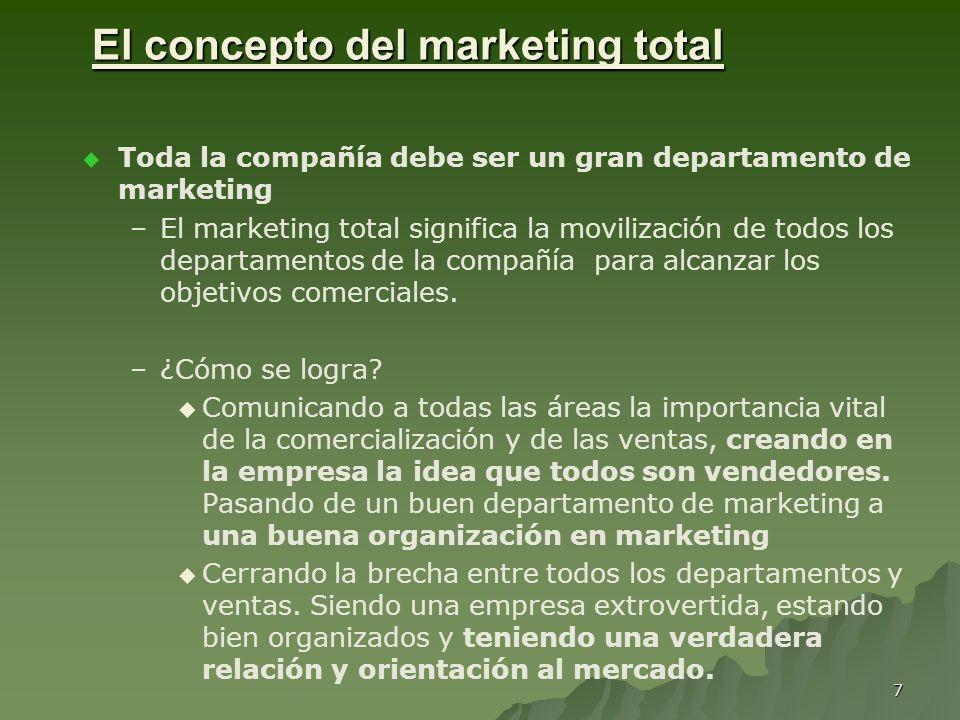 7 El concepto del marketing total Toda la compañía debe ser un gran departamento de marketing – –El marketing total significa la movilización de todos