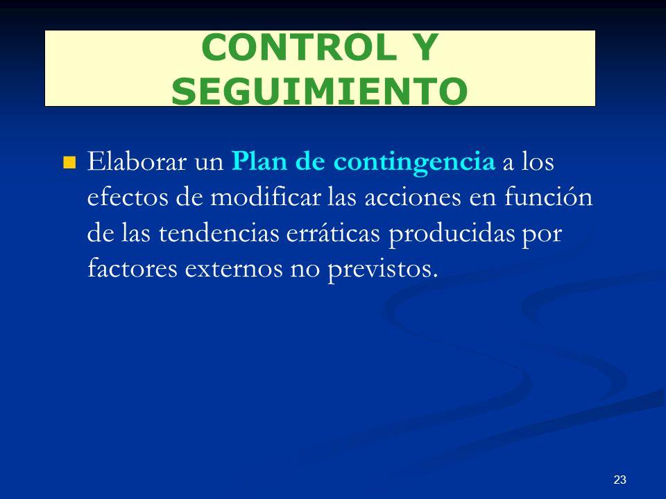 22 Control del Plan Anual Control de la rentabilidad Control de la eficiencia Control estratégico CONTROL Y SEGUIMIENTO Examinar que se están alcanzan