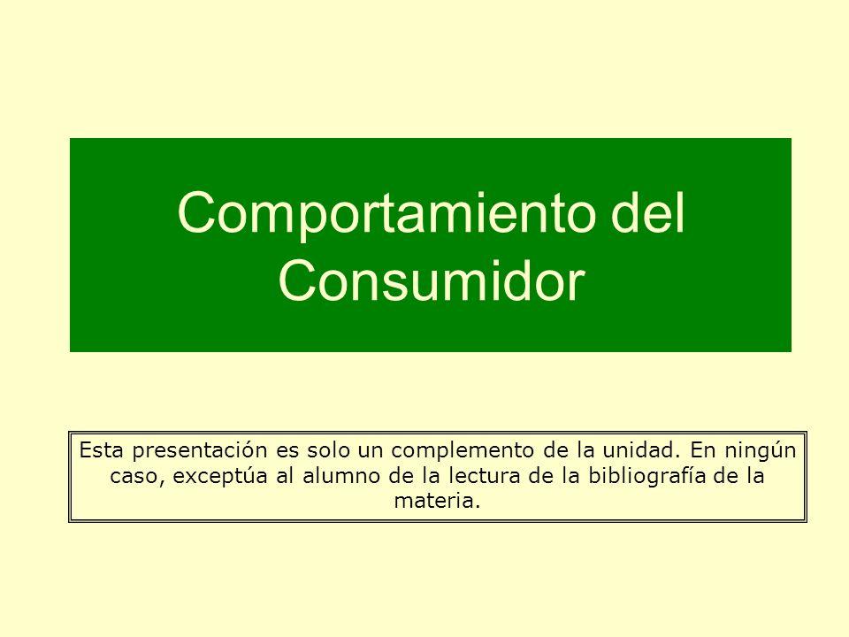 Comportamiento del Consumidor Esta presentación es solo un complemento de la unidad. En ningún caso, exceptúa al alumno de la lectura de la bibliograf