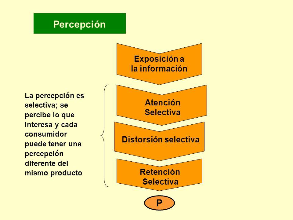 Percepción La percepción es selectiva; se percibe lo que interesa y cada consumidor puede tener una percepción diferente del mismo producto Exposición