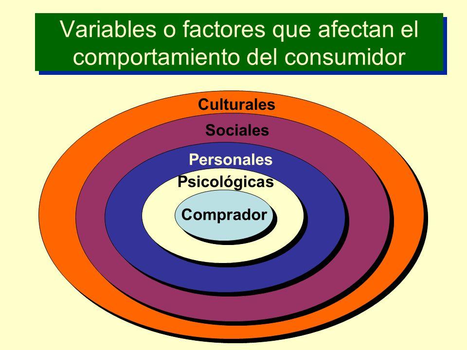 Variables / Factores Culturales: a) CulturaCultura b) Subcultura c) Clases sociales Niveles Socioeconómicos: Clase AltaA Clase MedianaB Clase Media AltaC1 Clase Media BajaC2 Clase BajaD Clase Baja InferiorE