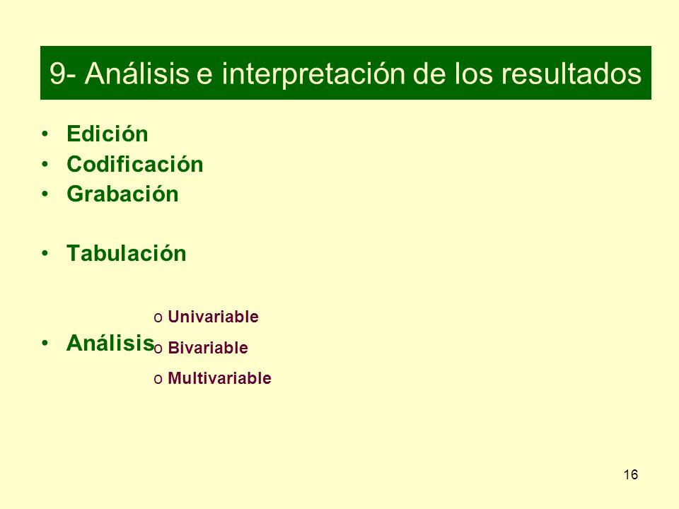16 9- Análisis e interpretación de los resultados Edición Codificación Grabación Tabulación Análisis o Uo Univariable o Bivariable o Multivariable