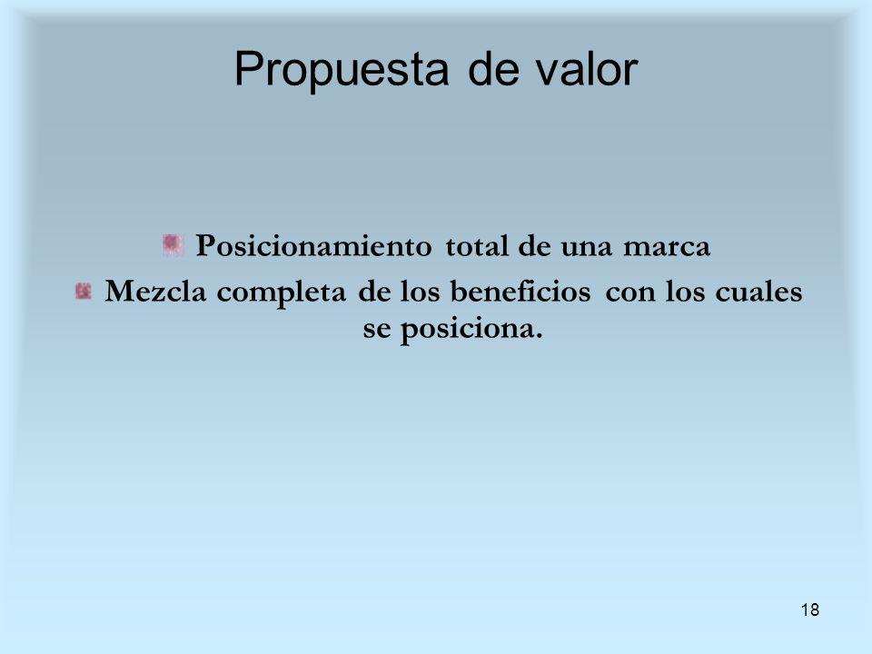 18 Propuesta de valor Posicionamiento total de una marca Mezcla completa de los beneficios con los cuales se posiciona.