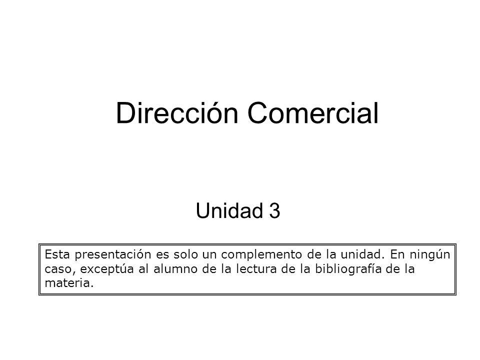 Dirección Comercial Unidad 3 Esta presentación es solo un complemento de la unidad. En ningún caso, exceptúa al alumno de la lectura de la bibliografí