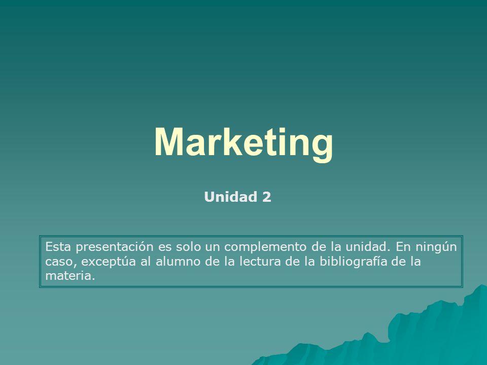 Marketing Unidad 2 Esta presentación es solo un complemento de la unidad. En ningún caso, exceptúa al alumno de la lectura de la bibliografía de la ma