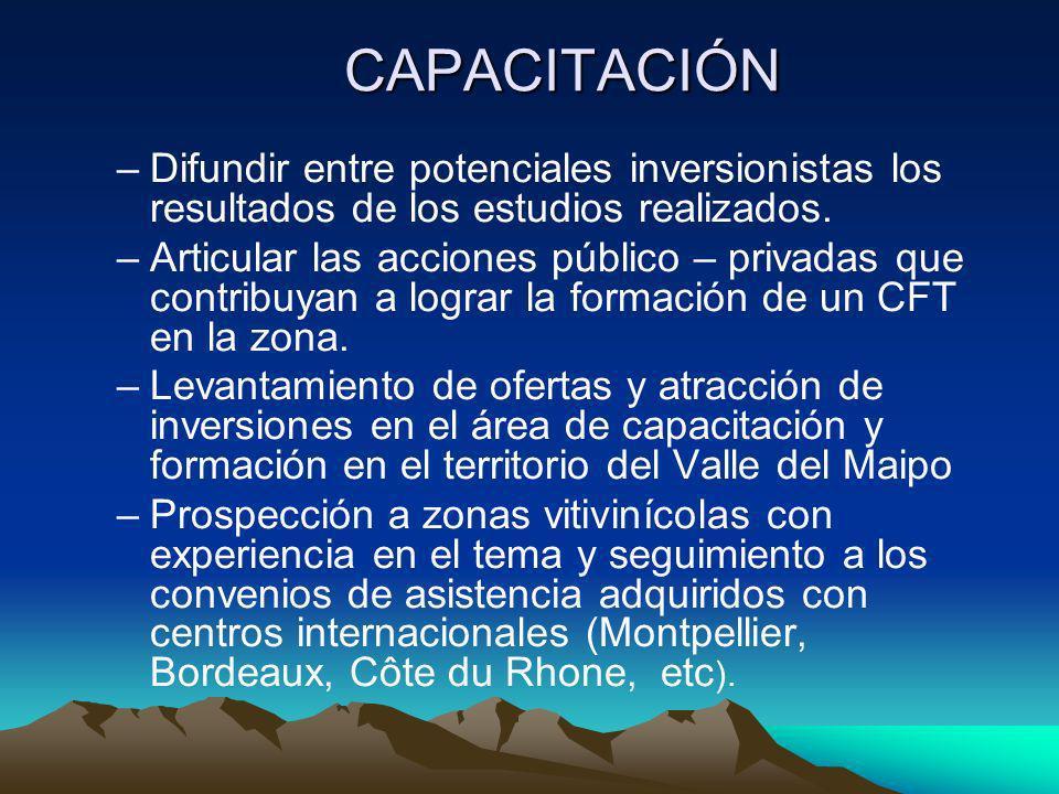 CAPACITACIÓN –Difundir entre potenciales inversionistas los resultados de los estudios realizados. –Articular las acciones público – privadas que cont