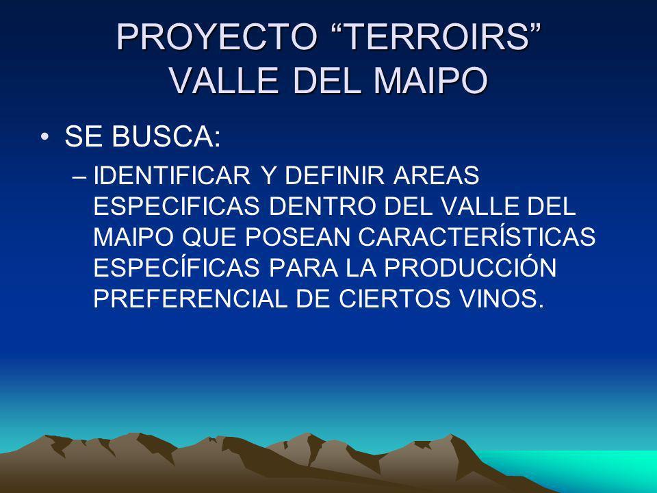 PROYECTO TERROIRS VALLE DEL MAIPO SE BUSCA: –IDENTIFICAR Y DEFINIR AREAS ESPECIFICAS DENTRO DEL VALLE DEL MAIPO QUE POSEAN CARACTERÍSTICAS ESPECÍFICAS