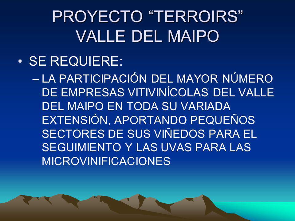 PROYECTO TERROIRS VALLE DEL MAIPO SE REQUIERE: –LA PARTICIPACIÓN DEL MAYOR NÚMERO DE EMPRESAS VITIVINÍCOLAS DEL VALLE DEL MAIPO EN TODA SU VARIADA EXT
