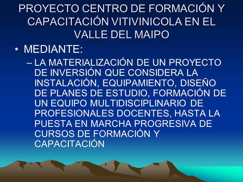 PROYECTO CENTRO DE FORMACIÓN Y CAPACITACIÓN VITIVINICOLA EN EL VALLE DEL MAIPO MEDIANTE: –LA MATERIALIZACIÓN DE UN PROYECTO DE INVERSIÓN QUE CONSIDERA