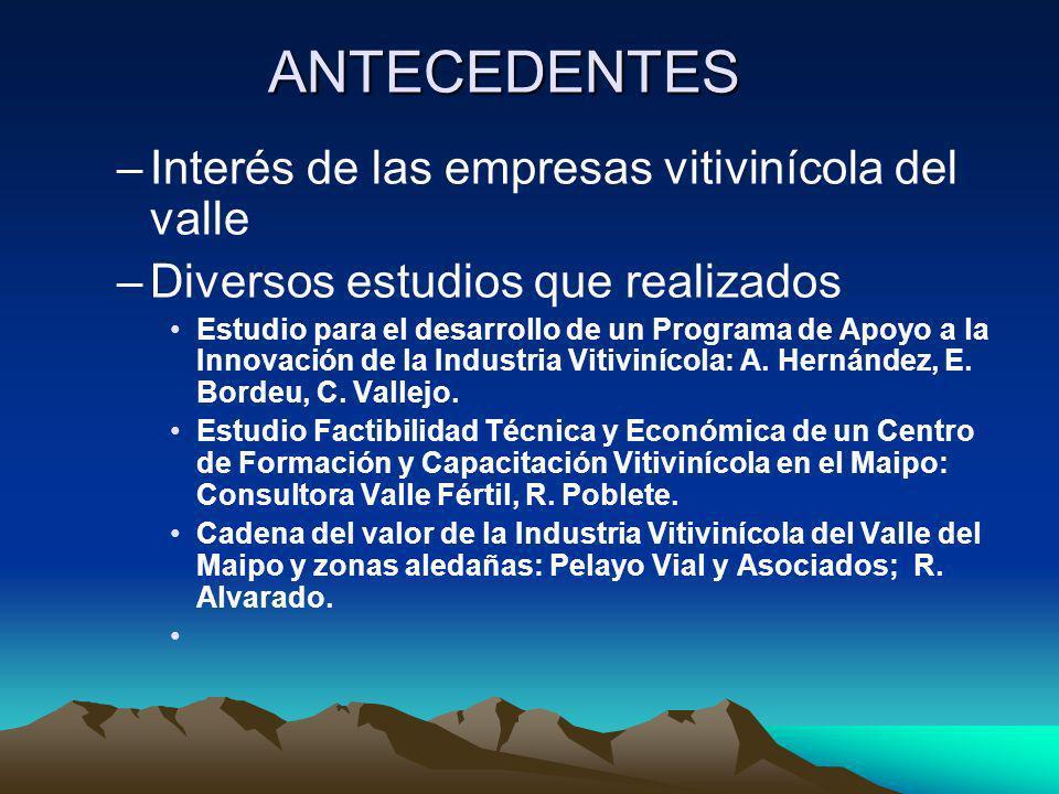 ANTECEDENTES –Interés de las empresas vitivinícola del valle –Diversos estudios que realizados Estudio para el desarrollo de un Programa de Apoyo a la