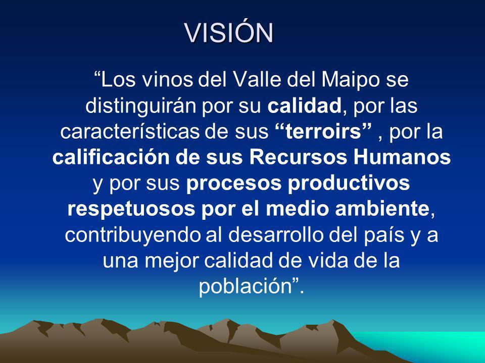 VISIÓN Los vinos del Valle del Maipo se distinguirán por su calidad, por las características de sus terroirs, por la calificación de sus Recursos Huma