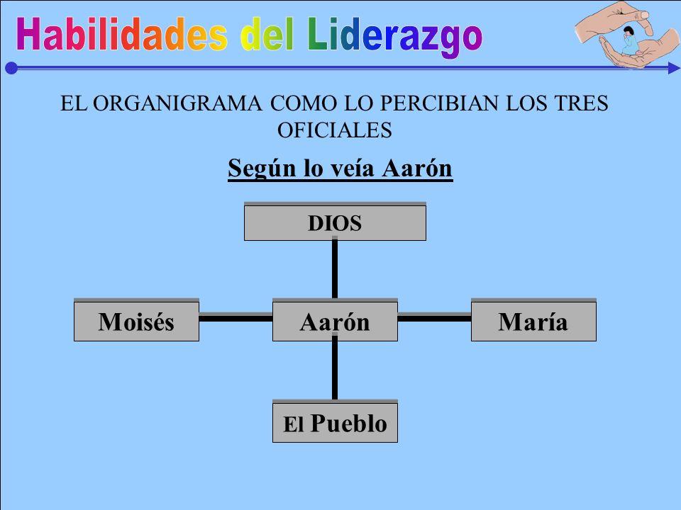EL ORGANIGRAMA COMO LO PERCIBIAN LOS TRES OFICIALES DIOS Aarón El Pueblo Moisés María Según lo veía Aarón