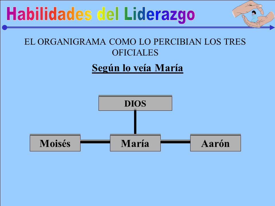 EL ORGANIGRAMA COMO LO PERCIBIAN LOS TRES OFICIALES DIOS María Moisés Aarón Según lo veía María