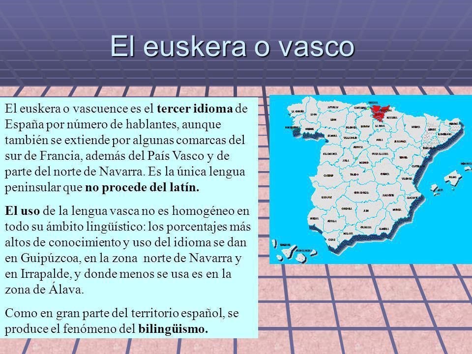EUSKERA BATÚA El euskera batúa, literalmente: euskera unificado o euskera unido (en euskera unificado euskara batua), fue creado a partir del año 1968 y se basa en los dialectos centrales, como el dialecto guipuzcoano o el labortano-navarro.