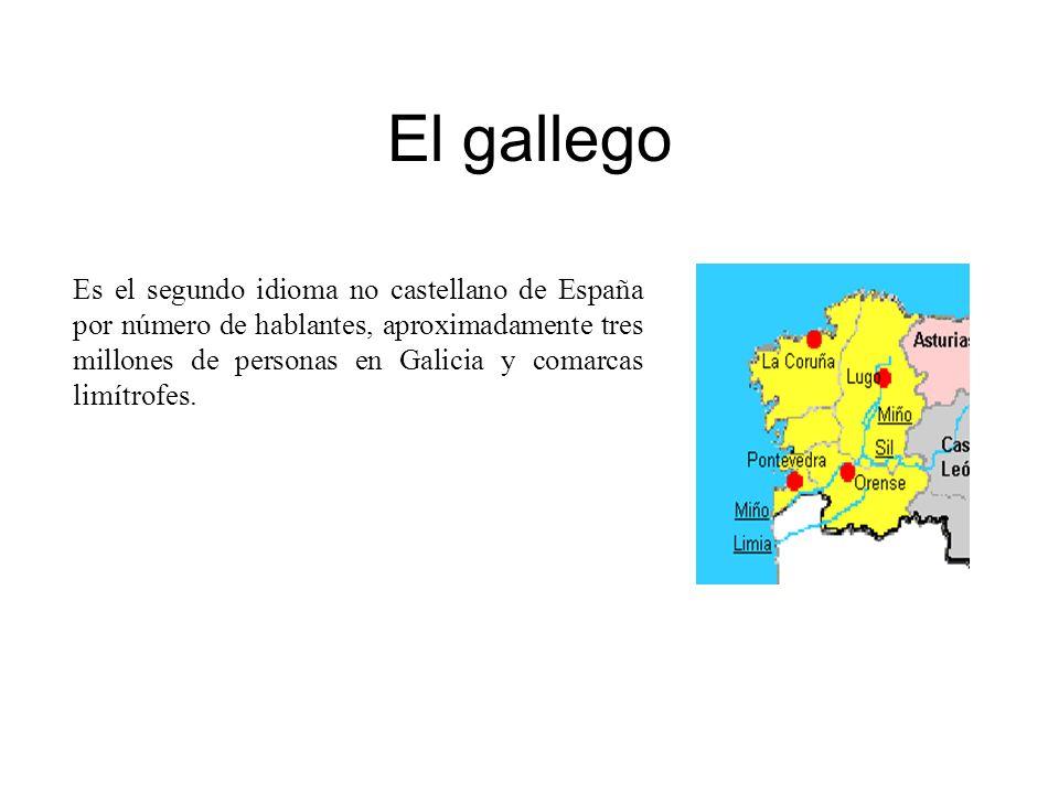 El gallego Es el segundo idioma no castellano de España por número de hablantes, aproximadamente tres millones de personas en Galicia y comarcas limít