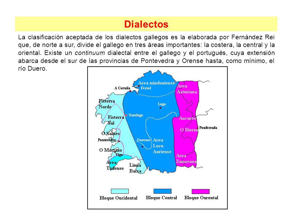 Dialectos La clasificación aceptada de los dialectos gallegos es la elaborada por Fernández Rei que, de norte a sur, divide el gallego en tres áreas i