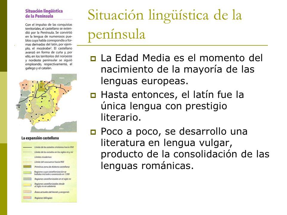 Situación lingüística de la península La Edad Media es el momento del nacimiento de la mayoría de las lenguas europeas.